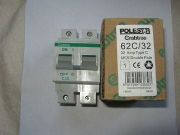 CRABTREE POLESTAR 62C/32 32 AMP DOUBLE POLE MCB CIRCUIT BREAKER